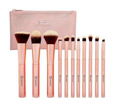 Image of   BH Cosmetics - Metal Rose - 11 Piece Brush Set With Cosmetic Bag